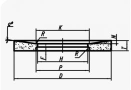 Шлифовальные круги с выборкой и выточкой на одной стороне (тип 23)