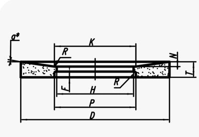 Круги с выборкой и выточкой на одной стороне (тип 23)